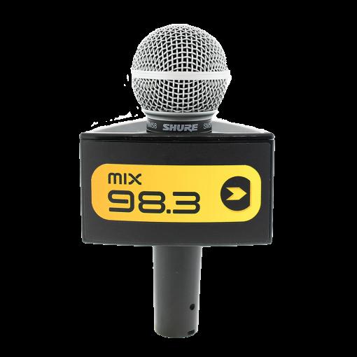 MIX 98.3 Black Rycote Triangle Custom Mic Flag